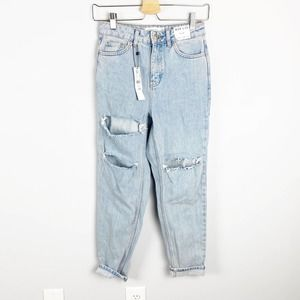 Topshop Mom Jeans Super Distressed High Rise NWT